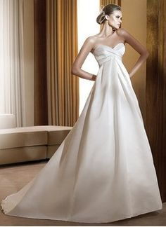 Empire Strapless Sweetheart Court Train Satin Wedding Dress With Ruffle