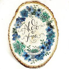 custom blue, green, and gold watercolor hand painted wood slice, featuring hand lettering and calligraphy names. original illustration by @hikomarishop