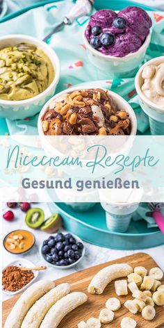 Nice cream recipes, Vegan and healthy alternative to ice cream: nice cream is quite right, it's just and provides many variation possibilities for Your summer - just nice. Now click and copy! Vegan Sweets, Healthy Sweets, Healthy Dessert Recipes, Health Desserts, Baby Food Recipes, Healthy Snacks, Vegetarian Recipes, Kitchen Recipes, Easy Recipes