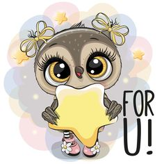 Cartoon Owl girl with star on the stars background. Cute Cartoon Owl girl with star on the stars background royalty free illustration Cute Owl Drawing, Cute Drawings, Cartoon Owl Drawing, Badass Pictures, Owl Pictures, Cute Owl Cartoon, Girl Cartoon, Owl Clip Art, Owl Art
