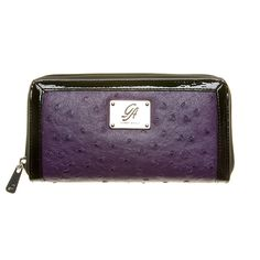 """Zip-Purple Grace Adele Wallet    Zip up the most important items in your bag in a luxe ostrich or animal print and black patent trim. This full-size wallet will hold everything you need.     • Faux leather  • 7.5"""" L, 4"""" H    https://myfashions.graceadele.us/GraceAdele/Buy/ProductDetails/10484"""