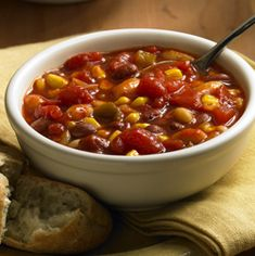 Our Two-Bean Vegetable Chili recipe is a great family comfort food. this recipe is great. I make a four bean and five bean vegetarian chili I add a can of mild Ro-Tel to mine. Pinto, Kidney, any beans I can jam in there! Chili Recipes, Soup Recipes, Great Recipes, Vegetarian Recipes, Cooking Recipes, Favorite Recipes, Healthy Recipes, Fall Recipes, Popular Recipes