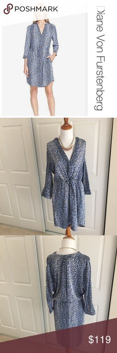 DVF Freya Silk Shirtdress 10 ♦️Excellent condition. Not stains, holes or piling. ♦️materials: 95% silk/ 5% Spandex.♦️Laying flat armpit to armpit: approximately 20 inches  ♦️Laying flat from the back of the neck to the bottom of the front hem is approximately 39 inches Diane Von Furstenberg Dresses