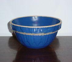 "Blue Stoneware Crock Bowl 5 7/8"" USA Yellow Ware Picket Fence  #MadeinUSA"