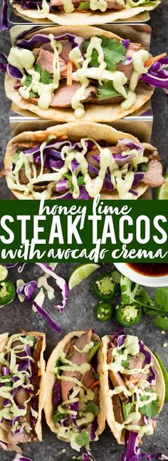 These Honey Lime Steak Tacos with Avocado Crema are the perfect combination of sweet, spicy and tangy - flavor explosion! These Honey Lime Steak Tacos with Avocado Crema are the perfect combination of sweet, spicy and tangy - a flavor explosion! Mexican Food Recipes, Beef Recipes, Dinner Recipes, Cooking Recipes, Healthy Recipes, Ethnic Recipes, Thin Steak Recipes, Beef Meals, Avocado Recipes