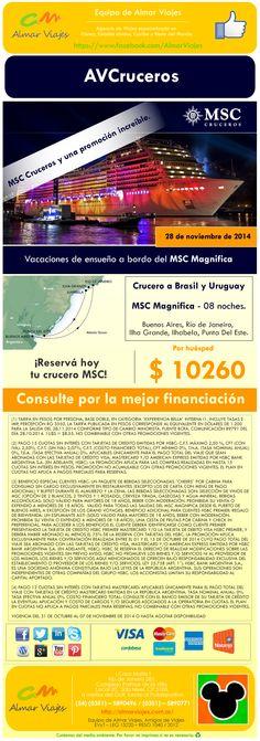 #CrucerosConAlmar l Crucero a Brasil y Uruguay - Salida: 28 de noviembre 2014.  Por huésped ARS 10260 l Consulte por la mejor financiación.  Visitaremos: Buenos Aires l Río de Janeiro l Ilha Grande l Ilhabela l Punta Del Este.  [Sitio web de contacto]: > http://almarviajes.com.ar/Contact <  Equipo de Almar Viajes, Amigos de Viajes.  EVyT - LEG 15220 - RESO 1040 / 2012