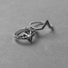 Pave star ring and matching band #blackdiamonds... - Meadowlark Jewellery