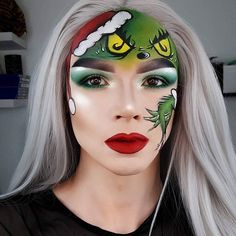 Via @zorinblitzz | ✨❄ Youre a mean one, Mr Grinch ❄✨ I've seen a few people do this look, so I thought I'd recreate it to fit in w/ my festive looks  ***PRODUCTS**** Grinch-  @morphebrushes 35B  @tartecosmetics Precision Liner  @jeffreestarcosmetics Velour Lipstick in Redrum
