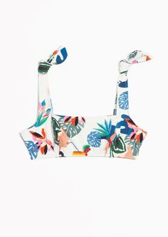 & Other Stories image 1 of Knot Shoulder Bikini Bra in Djungle Print
