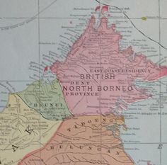 Antique BORNEO MAP Indonesia Map 1908 BEAUTIFUL by plaindealing