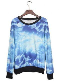 Galaxy Print Pullover Sweatshirt  S009860,  Top, Galaxy Print Pullover Sweatshirt  S009860, Chic