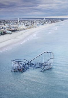 rollercoaster that was on the peir in Seaside, NJ - in the ocean after Hurrican Sandy  jsrcklss.tumblr.com via Tumblr