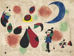 Joan Miró, Women, Moon, Birds, 1950 on ArtStack Hieronymus Bosch, Spanish Painters, Spanish Artists, Pablo Picasso, Joan Miro Pinturas, Miro Artist, Most Expensive Painting, Joan Miro Paintings, Art Paintings