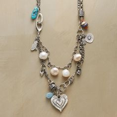 """TRUE HEART NECKLACE -- For the spirit that shines true—a rustic yet elegant necklace handmade by Jes MaHarry with hand-sculpted sterling charms, plump pearls, turquoise and rare trade beads. Sterling silver chain and clasp. USA. Exclusive. 22""""L."""