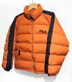 16a0c4bd84f Vintage 90s Fila Hip Hop Rap Style Goose Down Puffer jacket Color Block  Navy Blue/Orange Size L