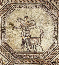 Decorazione musiva, IV d.C. Basilica Patriarcale di Santa Maria Assunta, Aquileia. Cultura cristiana romana. Mosaico del Buon Pastore.