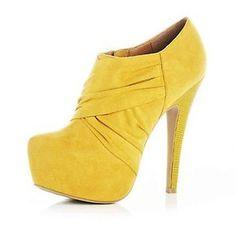 river island heels yellow shoes |