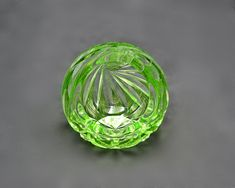 Bohemian Glass Ashtray, Green Cut To Clear Globe Ashtray Glass Paperweights, Ginger Jars, Paper Weights, Vintage Art, Glass Art, Globe, Bohemian, Vase, Shapes