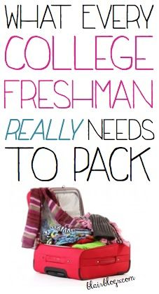 This has some really good advice on what to pack; especially the part about don't try to buy everything before your freshman move-in day! Essentials first! What Every College Freshman Really Needs to Pack