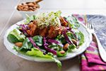 Thai Salad with Barbecued Tofu. Thai salad with slow-cooked tofu in pineapple barbecue sauce--amazing! Healthy Salad Recipes, Whole Food Recipes, Vegan Recipes, Vegan Food, Dinner Recipes, Vegan Slow Cooker, Slow Cooker Recipes, Crockpot Recipes, Thai Salads