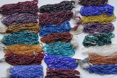 Vintage Antique GLASS SEED BEADS 25 Mini Hanks RARE COLORS! My Huge COLLECTION  #Seed