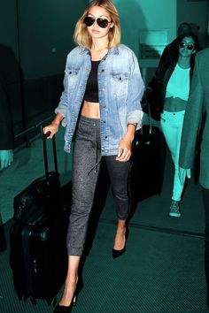 Gigi Hadid Paired Sweatpants With Stilettos On A Flight #refinery29  http://www.refinery29.com/2015/08/91841/gigi-hadid-sweatpants-outfit#slide-1  Gigi went for athleisure-chic for a plane ride to Sydney, Australia. We all hail her for making sweatpants acceptable for flights — even if they have to be worn with a crop top and designer heels....