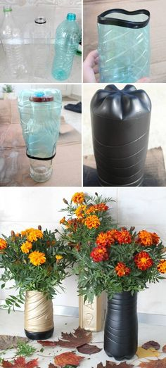 Vases of bottles with their own hands - 29 photos with ideas for creativity Diy Home Decor On A Budget, Diy Home Improvement, Dollar Stores, Creative, Vases, Bottles, Photos, Ideas, Crafts With Bottles