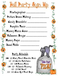 FALL PARTY SIGN UP SHEET - TeachersPayTeachers.com Preschool Halloween Party, Hallowen Party, Halloween Class Party, Party Food Signs, Fall Festival Games, Sign Up Sheets, Harvest Party, School Signs, School Parties