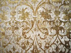 "Circa 1580 Italian symmetrical ""candelabra"" pattern of alto-e-basso or pile-on-pile of silk cut velvet. Called ""candelabra"" pattern due to the many branches in the design. Pile-on-pile refers to two layers of threads, one higher than the other. Alto-e-basso is Italian meaning high and low."