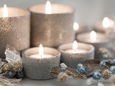 Silver Christmas Candles candles glitter sparkle decorate silver christmas decorations