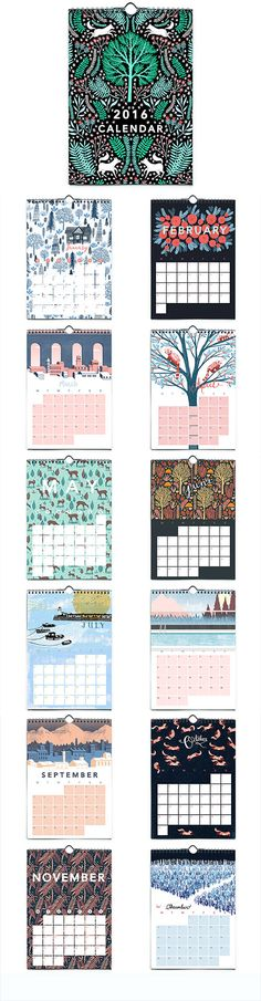 Treat yourself to new wall art each month of the year with this whimsical illustrated #calendar.