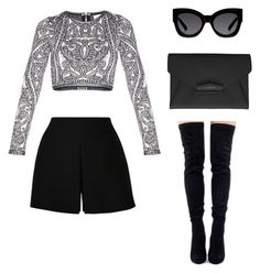 """""""Untitled #388"""" by maritzawaffles on Polyvore featuring Hervé Léger, Valentino, Givenchy, Karen Walker, women's clothing, women's fashion, women, female, woman and misses"""