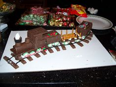 Chocolate candy train...use store bought candies and bars