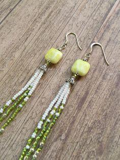 #Peridot and #SeedBead #Earrings, Long #Fringe Earrings, #Beaded Earrings, #Square Peridot #Gem #Bead, #Clear Peridot Beads, #White #Jewelry #Etsy