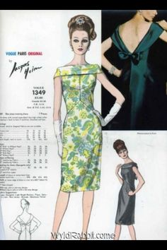 Vogue Paris Original 1349 by Jacques Heim   1960s one-piece dress