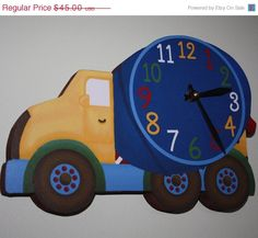 SALE Cement Mixer Construction Truck Wooden WALL by ToadAndLily, $36.00