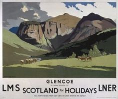 Glencoe By Norman Wilkinson for LMS and LNER Railways.  Scottish Railway Travel Poster Print