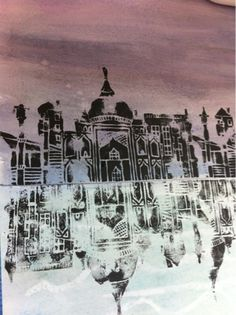 Art at Becker Middle School, reflecting architecture prints