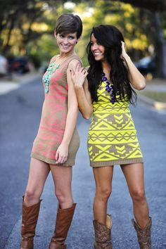 Yellow Aztec Sweater Dress with boots looks hot ! Passion For Fashion, Love Fashion, Summer Outfits, Cute Outfits, Matching Outfits, Sweater Dress Outfit, Sweater Dresses, Look Formal, Aztec Sweater