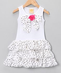 White Polka Dot Bow Ruffle Dress - Toddler & Girls | Daily deals for moms, babies and kids