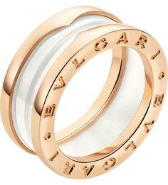 BVLGARI - B.zero1 two-band 18ct pink-gold and ceramic ring | Selfridges.com