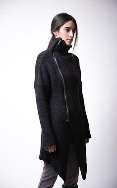NEW Black Sweater Coat / Zipper Cardigan / Long by marcellamoda