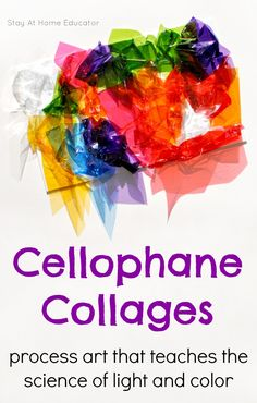 Process art meets science and sensory with cellophane collages! They are the perfect way to teach preschoolers about light and color. Preschool Science, Science Art, Preschool Crafts, Kids Crafts, Process Art Preschool, Preschool Classroom, Classroom Ideas, Toddler Activities, Preschool Activities