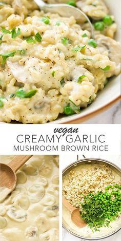 Vegan creamy garlic mushroom brown rice so easy and delicious! dairy free rice Vegan creamy garlic mushroom brown rice so easy and delicious! Vegan Dinner Recipes, Whole Food Recipes, Vegan Brown Rice Recipes, Easy Vegan Recipes, Healthy Rice Recipes, Easy Vegan Dinner, Dairy Free Rice Recipes, Healthy Recipes With Mushrooms, Easy Health Dinner Recipes