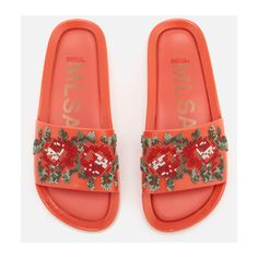 a2aa2be0918 Melissa Women s Flower Pixel Beach Slide Sandals - Coral ( 96) ❤ liked on  Polyvore featuring shoes