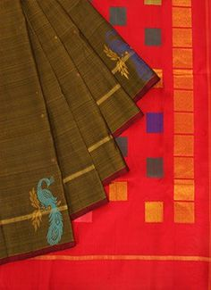 Pure Silk Pothys Olive Green Saree