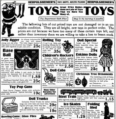 "Christmas toys advertisement, published in the Grand Rapids Press newspaper (Grand Rapids, Michigan), 23 December 1910. Read more on the GenealogyBank blog: ""Christmas Toys & Gifts from Yesteryear in Old Newspaper Ads."" http://blog.genealogybank.com/christmas-toys-gifts-from-yesteryear-in-old-newspaper-ads.html"