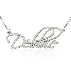Personalized White Gold Diamond Name Necklace