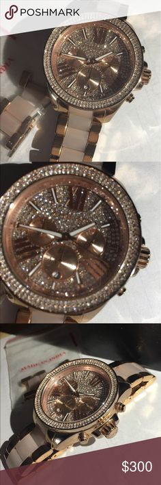 Mk authentic Bradshaw Rose gold and pink acetate with pave crystals. Like new. Comes with box and links. Will trade for another mk watch- rose gold doesn't look good on me. Trade value higher Michael Kors Accessories Watches