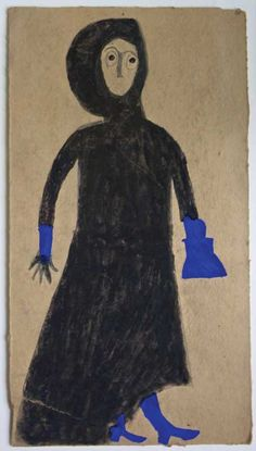 """Woman in black dress with blue purse"" by Bill Traylor (c. 1854–1949) Montgomery, Alabama 1939–1942"